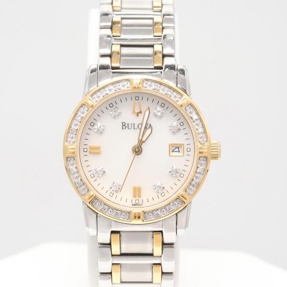 Relógio Feminino Bulova Diamante Date Seminovo (original)