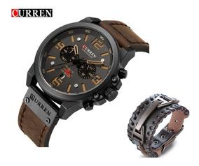 Relógio Masculino Curren 8314 Esporte Grátis Pulseira Couro
