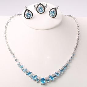 f18a75d7bdf1 Set Collar Aretes Anillo Topacios Ak Jewelry Plata Oro 18k