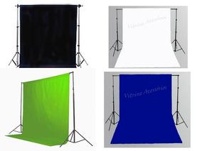 4 Tecido 3x2 + Suporte Fundo Infinito Estudio Fotografico