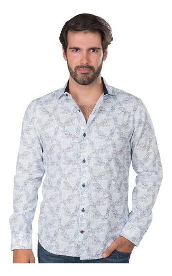 Camisas Hombre Casual Slim Fit Moda Estampada Floreada