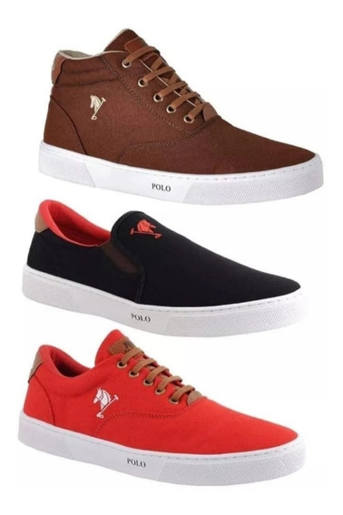 Kit C/3 Pares De Tenis+bota+iate Mascilino Polo Joy Original