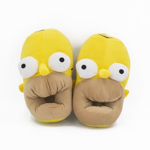 Imagen 1 de 7 de Pantuflas Homero Simpson Abrigadas Mujer Calentitas Invierno