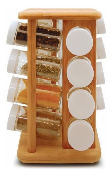 Suporte Porta Temperos 16 Condimento Giratório Bancada Bambu