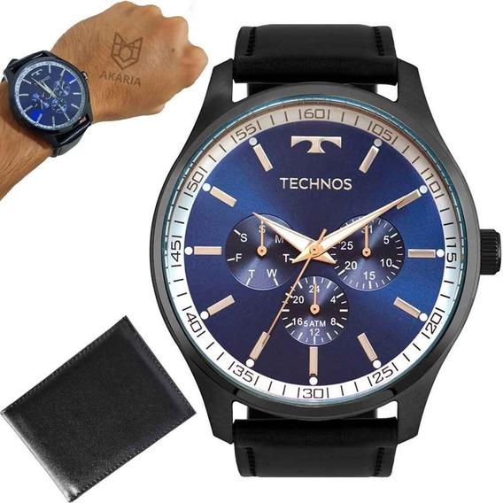 Relógio Technos Masculino 6p29ajp/2a 45mm Couro Preto Brinde