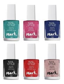 6 Esmaltes Crystal Mark Nail Style Avon - Um De Cada Cor