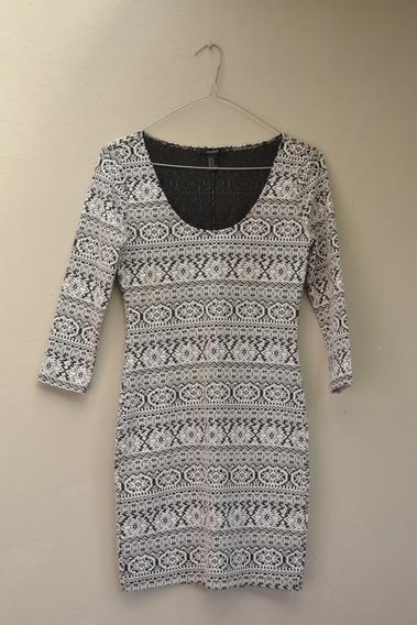 Vestido Blanco Y Negro - Forever 21 - Talle M