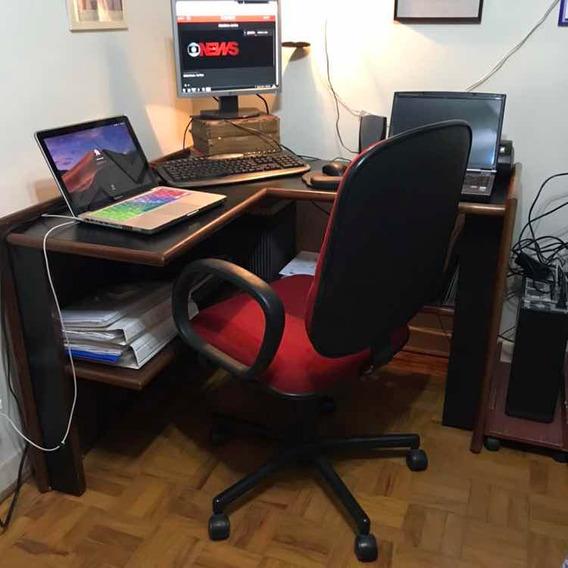 Escrivaninha Fórmica E Madeira Em L