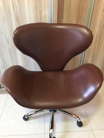 Cadeira Poltrona Escritório Cromada E Giratória