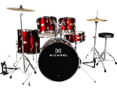 Bateria Acústica Michael Vinho 5 Peças Bumbo 22