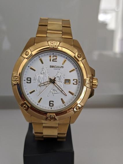 Relógio Seculus Masculino Cor Dourada ( 20733gpsvda1)