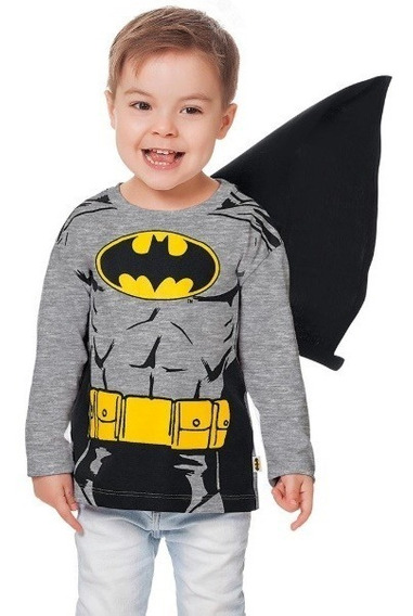 Blusa/camiseta Manga Longa Batman Tam.1 (12-18 Meses)