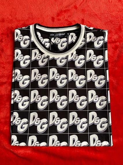 Playera Dolce Gabbana Logo Dg Azul Caricatura