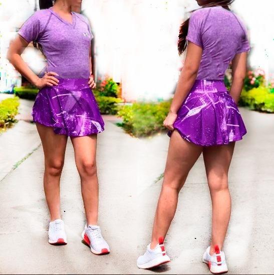 Conjunto-deportivo Mujer Falda Short Blusa Violeta