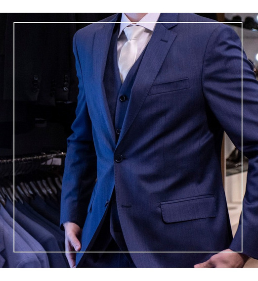 Terno Slim Fit De Lã Fria Azul