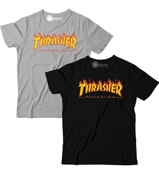 Camiseta 2 Peças Blusa Kit Atacado Trasher Magazine Flame
