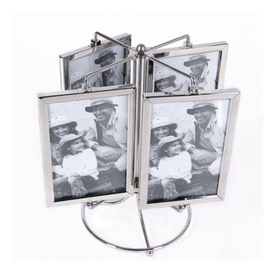 Porta Retrato 8 Fotos De Alumínio Giratório Pendulo Luxo Decoração