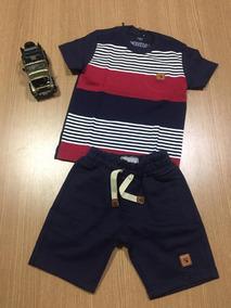 Roupa Infantil Menino Conjunto Camisa +short Moletom 2 Anoss