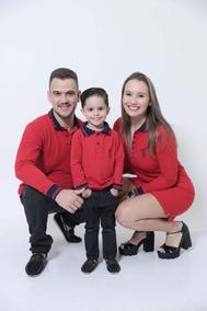 Kit Família Polo E Vestido Composto Por 3 Peças Manga Longa