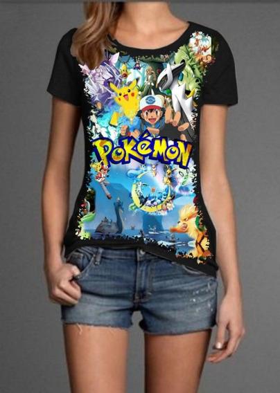 Blusa Babylook Divertida Desenho Pokémon Mundo