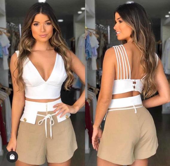 Short Cintura Alta Bicolor Branco E Bege - Jo Fashion