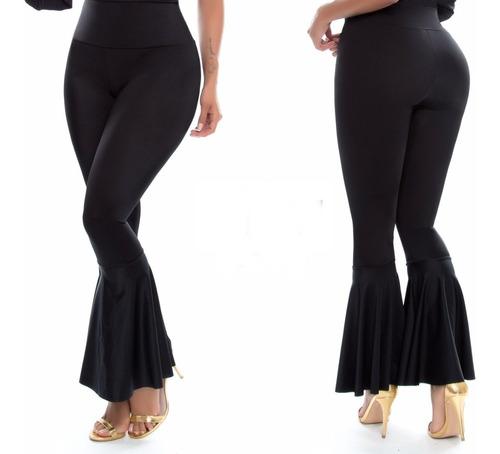 Pantalon Para Mujer Pegado Y  Campana Inferior Talle Alto