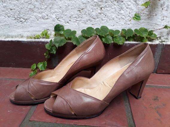 Zapatos Cuero Verdadero Color Terracota #39 Impecables