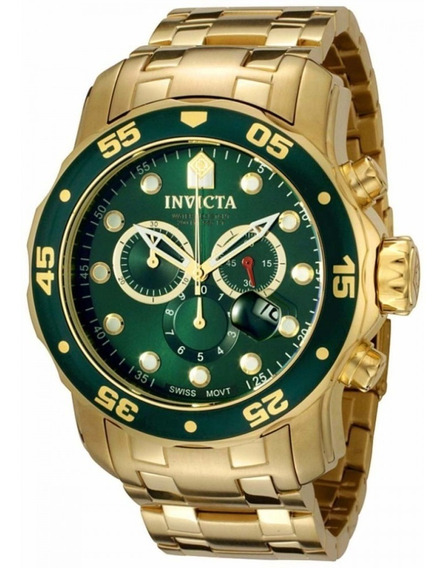Relógio Invicta Pro Driver Scuba 0075 Dourado Fundo Verde
