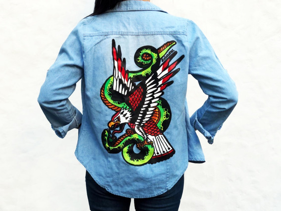 Camisa Jean Aguila Serpiente Tradicional Estampado Pintado