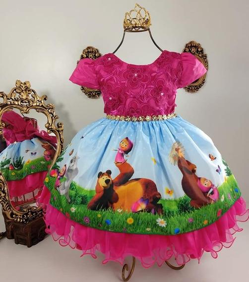 Vestido Luxo Festa Infantil Masha Urso Masha E O Urso