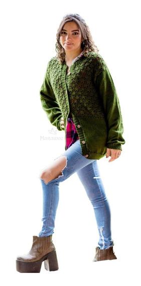 Saco Mujer Tejido Combinado Con Crochet Y Botones