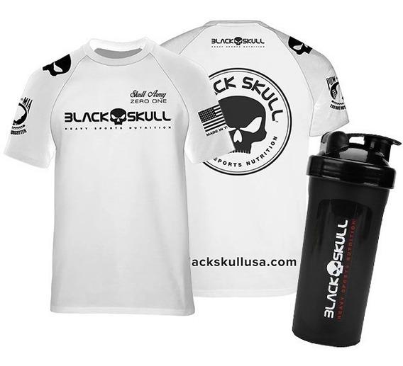 Camiseta Original Dry Fit Branca + Shaker - Black Skull