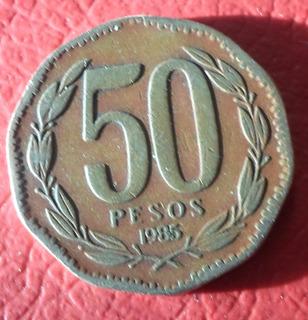 Moneda De Chile 50 Pesos 1985 Muy Escasa ( N C )