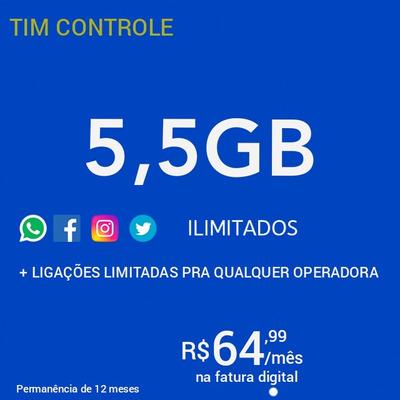 Plano Tim Controle Redes Sociais 5,5gb