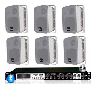 Sistema Musica Funcional Gbr 6 Bafles Fm Bluetooth Usb Cjf