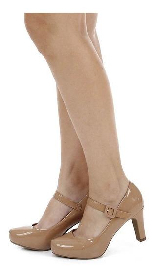 Sapato Salto Grosso Boneca Vizzano Nude - Envio Rápido
