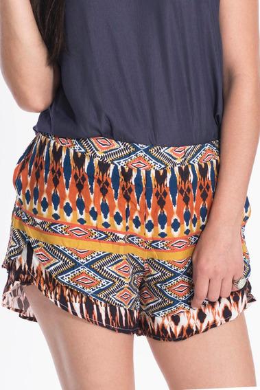 Shorts Duplo Canal Estampa Afro