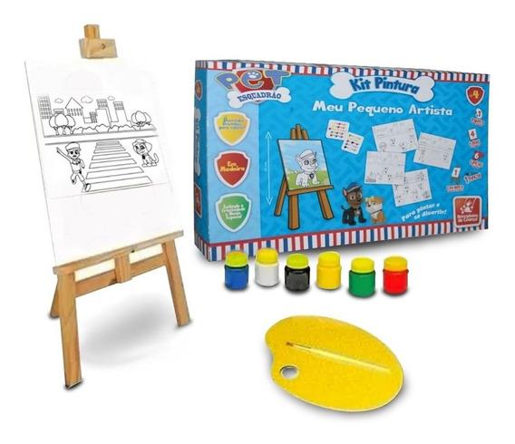 Kit Infantil De Pintura Cavalete Personagens + Pincel Tintas