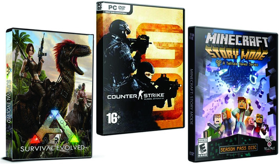 Combo: Minecraft, Cs Go E Ark Survival - Pc Dvd - Frete 8 R$