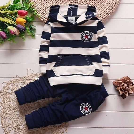 Conjunto Menino Bebê Inverno Blusa Com Capuz + Calça Np38