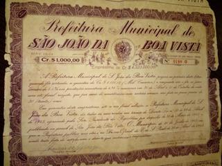 Antiga Cautela De Empréstimo Mun De São João Da Boa Vista Sp