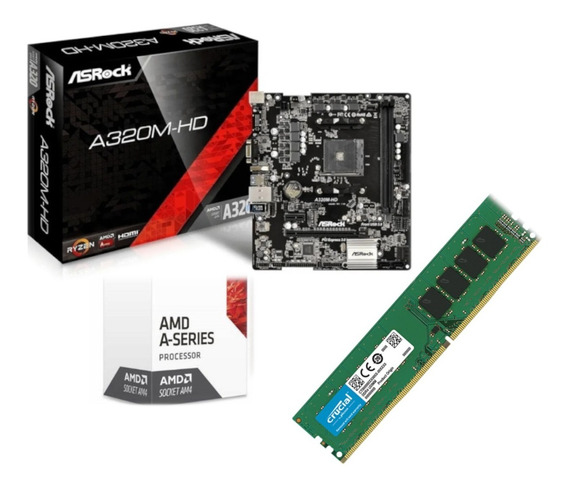 Kit Mb Asr A320m Hd M.2 + Cpu Amd A10 8700e 8 Gb Mem 2666 M