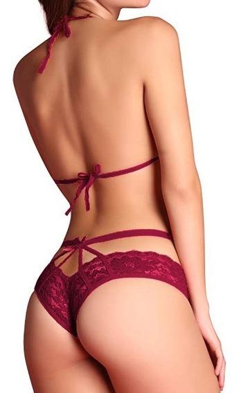 Bralette Coordinado Lenceria Sexy Ropa Interior Encaje Mujer