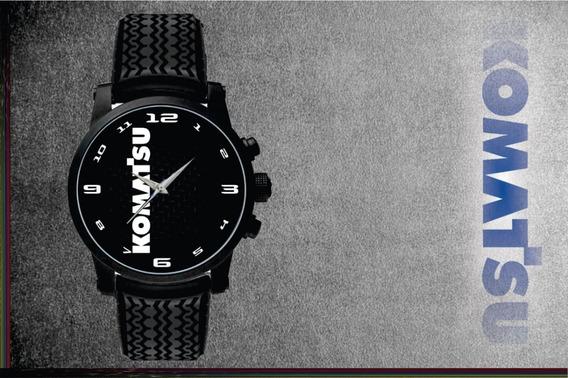 Relógio De Pulso Personalizado Logo Komatsu Retroescavadeira Pulseira Borracha Pneus Top 002