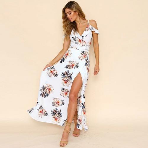 Vestido Largo Elegante Floral Talla S Nuevo Importado Stock