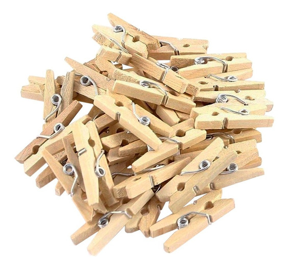 Brochecitos Madera X50 Clips Ganchitos 3,5 Cm P/ Souvenir