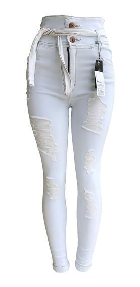Calça Jeans Feminina Branca Hot Pants Desfiada Com Elastano