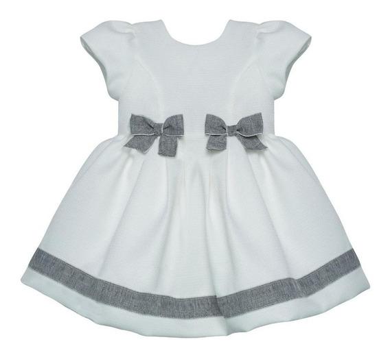 Vestido Baby Barbara Kids Branco C/laço Cinza-frete Grátis