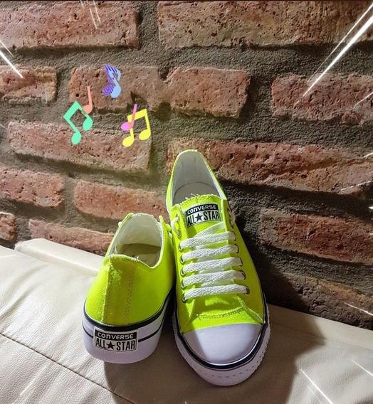 Zapatillas Lona Con Plataforma, Flúor Varios Colores