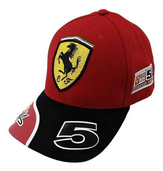 Boné Ferrari Vermelho Aba Curva Aberto Com Ajuste